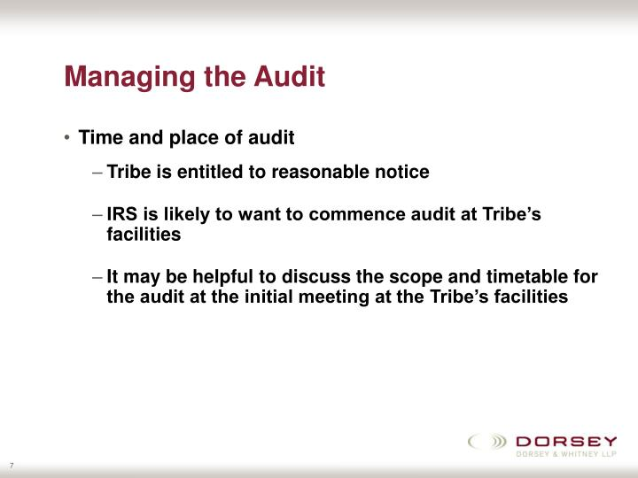 Managing the Audit