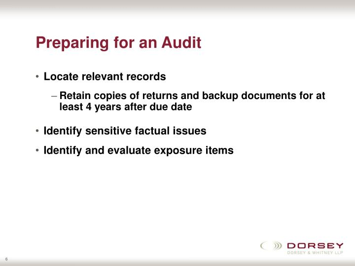 Preparing for an Audit