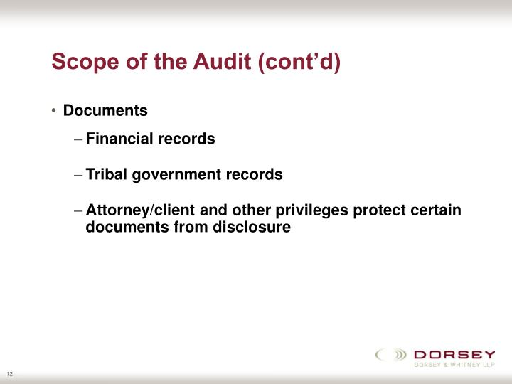 Scope of the Audit (cont'd)