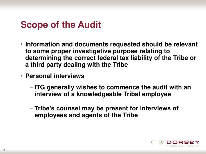 Scope of the Audit