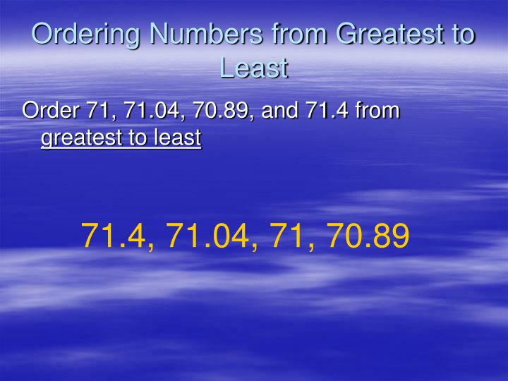 Ordering Numbers from Greatest to Least