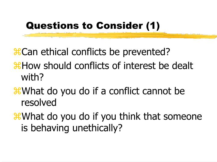Questions to Consider (1)