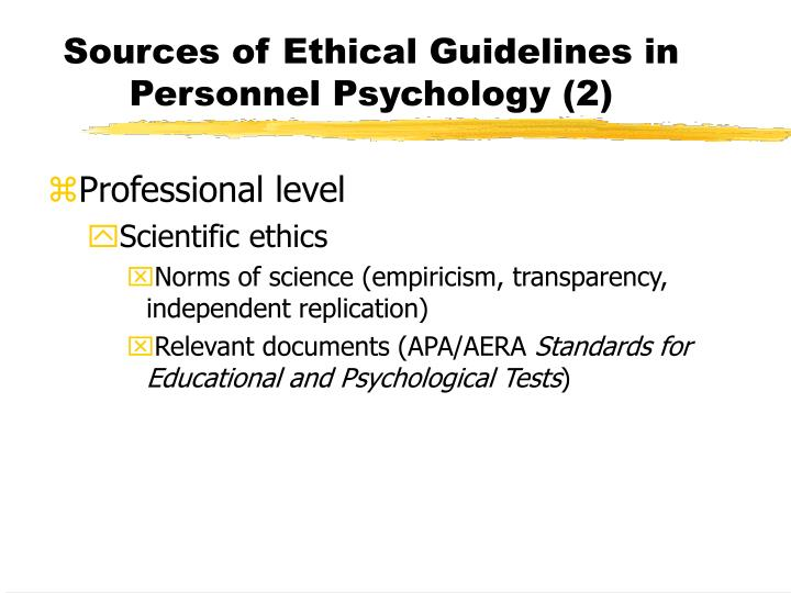 Sources of Ethical Guidelines in Personnel Psychology (2)