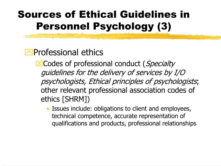 Sources of Ethical Guidelines in Personnel Psychology (3)