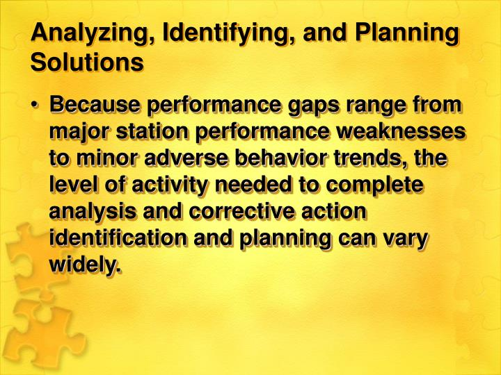 Analyzing, Identifying, and Planning Solutions