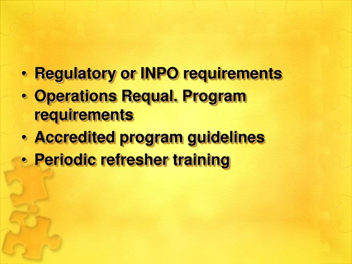 Regulatory or INPO requirements