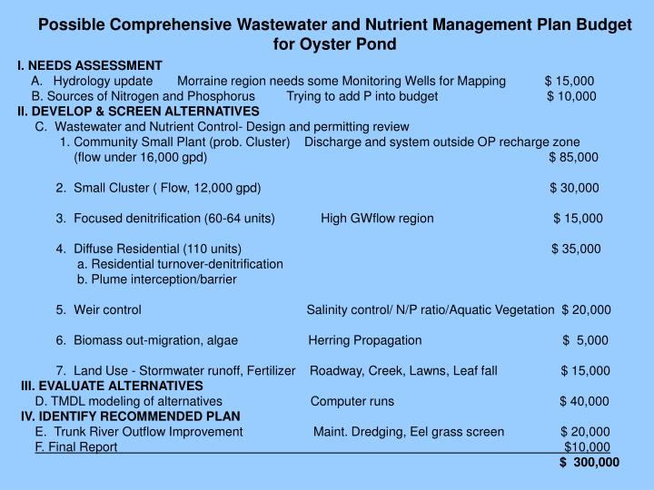 Possible Comprehensive Wastewater and Nutrient Management Plan Budget  for Oyster Pond
