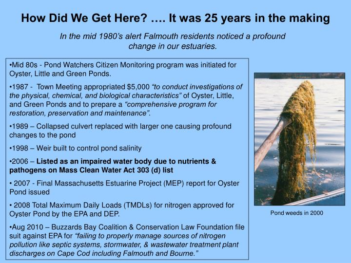 How Did We Get Here? …. It was 25 years in the making