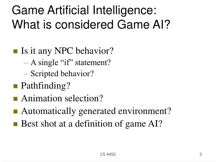 Game artificial intelligence what is considered game ai