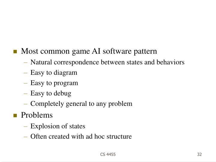 Most common game AI software pattern