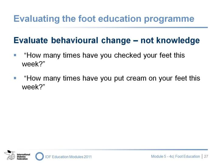 Evaluating the foot education programme