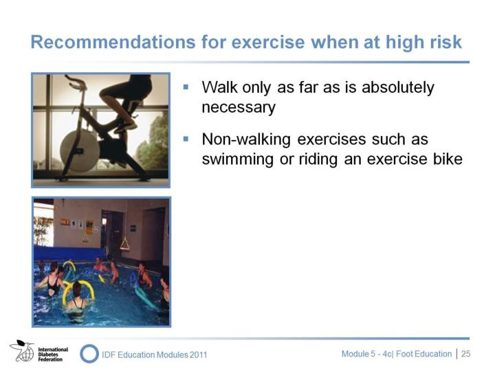 Recommendations for exercise when at high risk