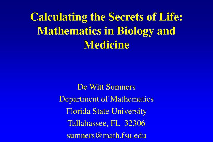 calculating the secrets of life mathematics in biology and medicine n.