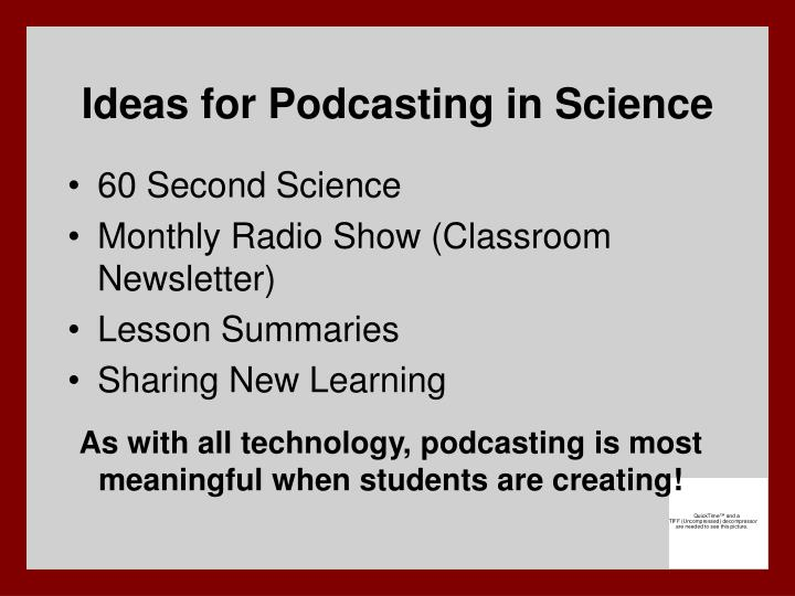 Ideas for Podcasting in Science