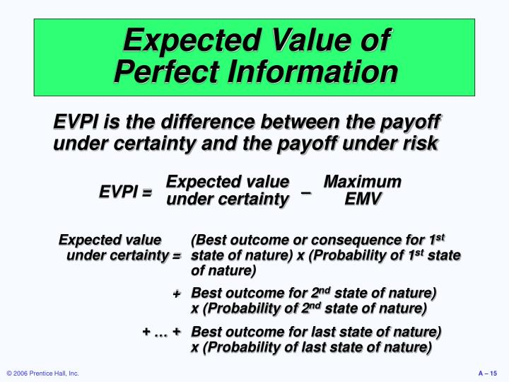 Expected value under certainty