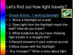 let s find out how light travels