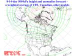 8 14 day 500 hpa height and anomalies forecast a weighted average of cfs canadian other models