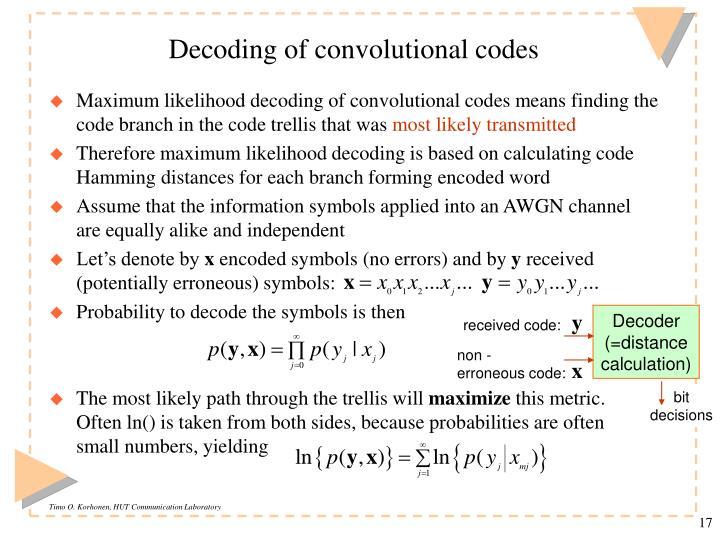 Decoding of convolutional codes