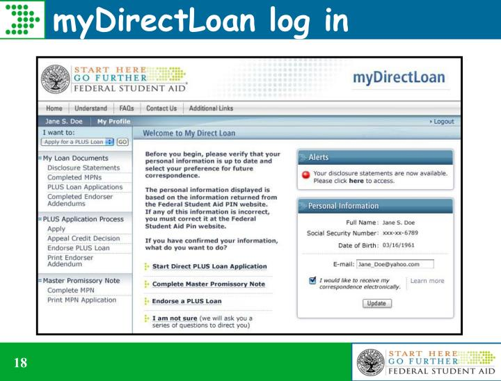 myDirectLoan log in