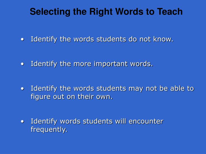 Selecting the Right Words to Teach