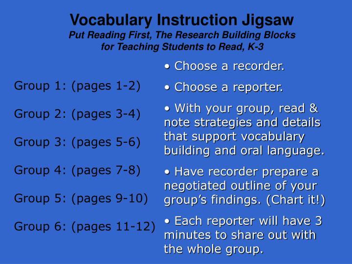 Vocabulary Instruction Jigsaw