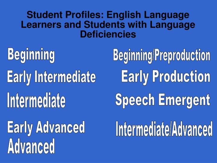 Student profiles english language learners and students with language deficiencies