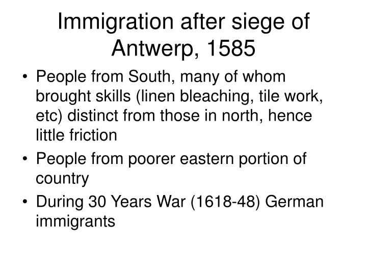 Immigration after siege of Antwerp, 1585