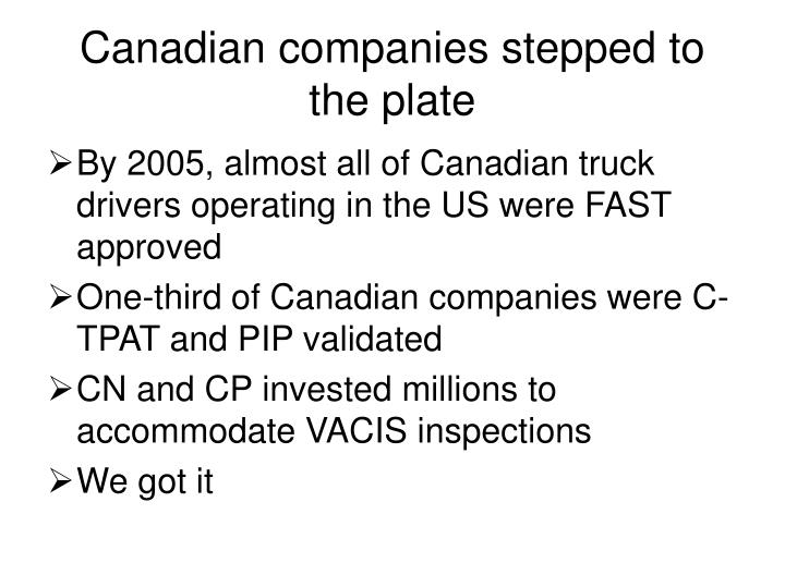 Canadian companies stepped to the plate