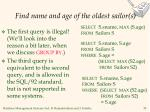 find name and age of the oldest sailor s