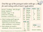 find the age of the youngest sailor with age 18 for each rating with at least 2 such sailors
