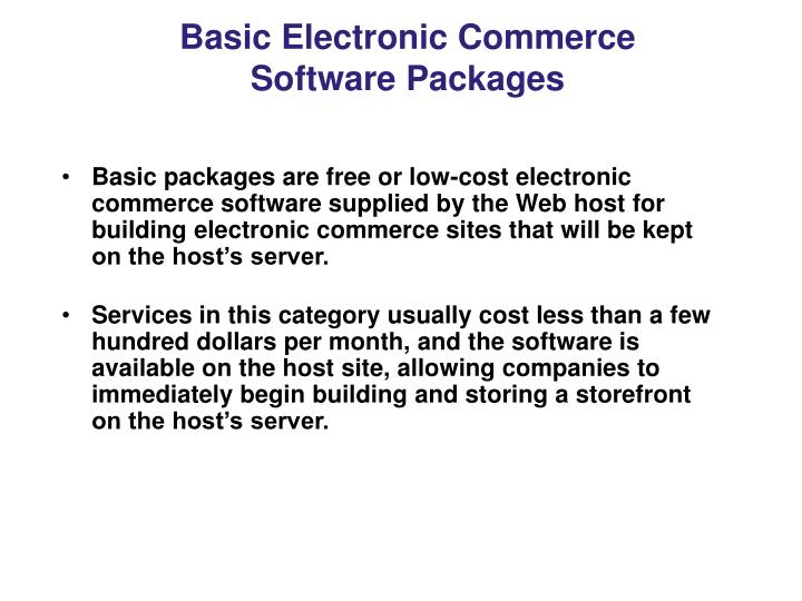 Basic Electronic Commerce