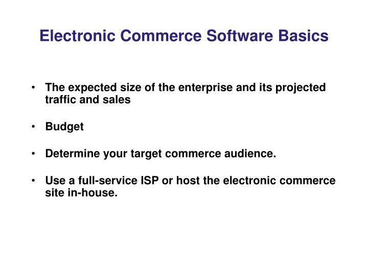 Electronic Commerce Software Basics
