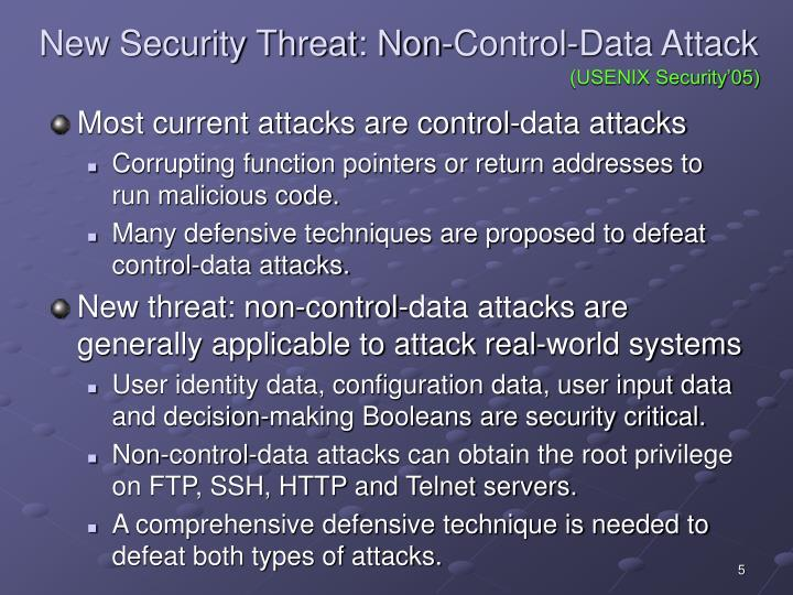 New Security Threat: Non-Control-Data Attack