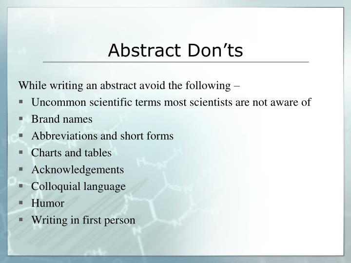 Abstract Don'ts