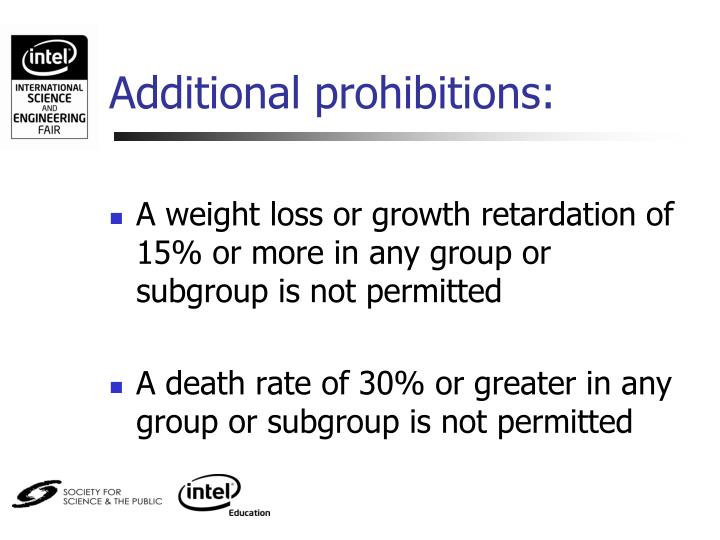 Additional prohibitions: