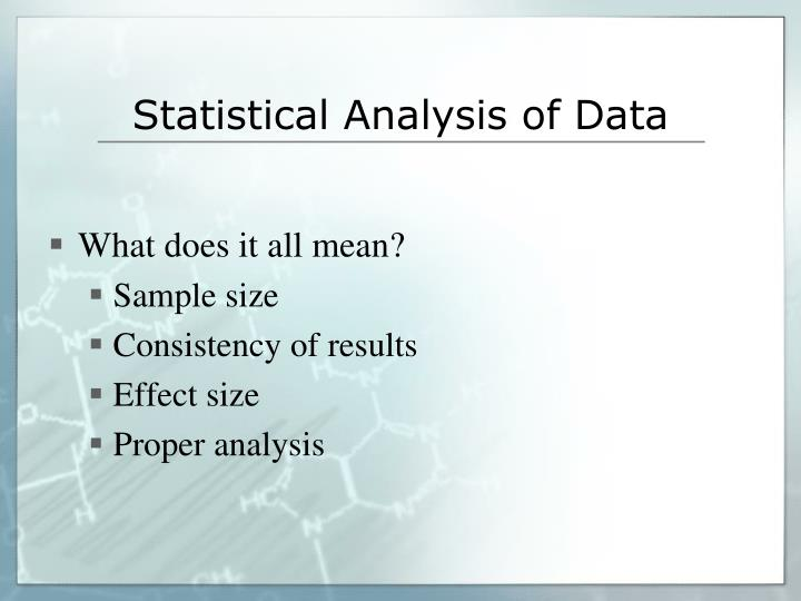 Statistical Analysis of Data