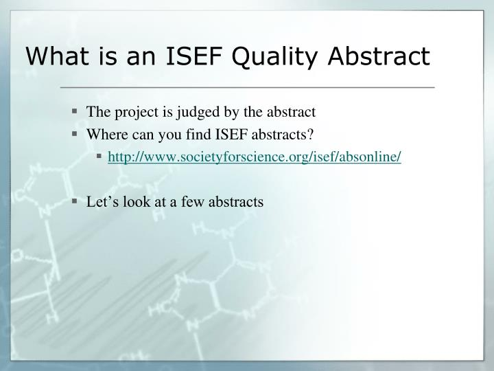 What is an ISEF Quality Abstract