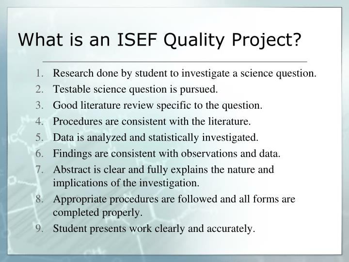 What is an ISEF Quality Project?