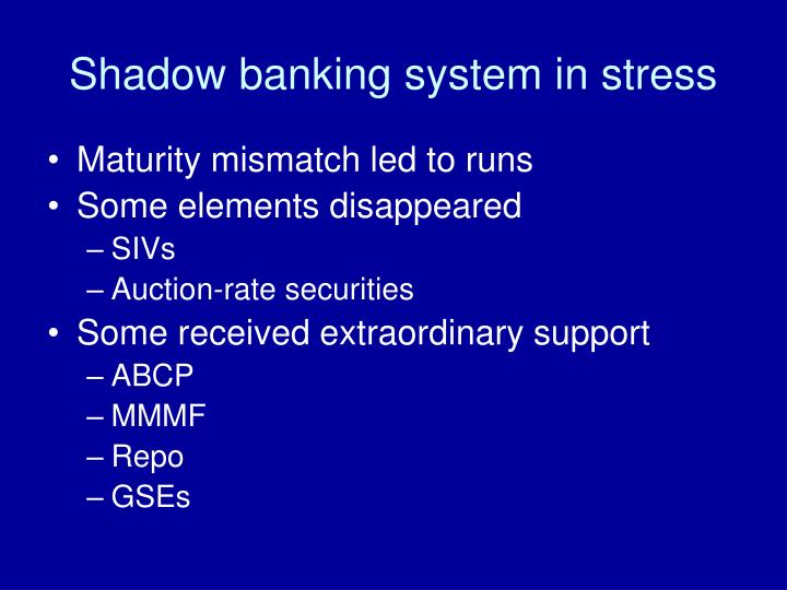 Shadow banking system in stress