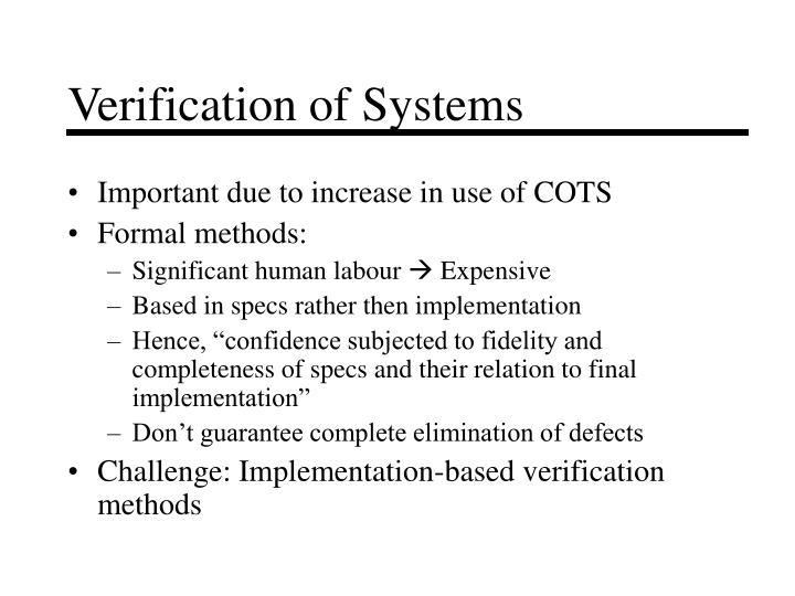 Verification of Systems