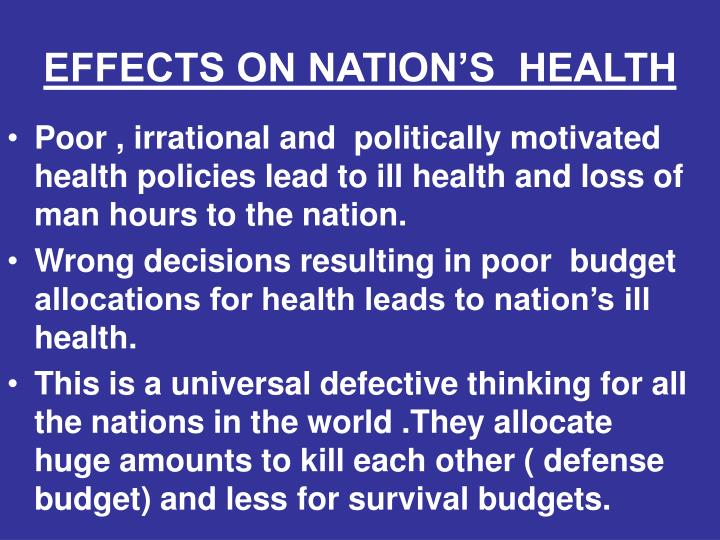 EFFECTS ON NATION'S  HEALTH