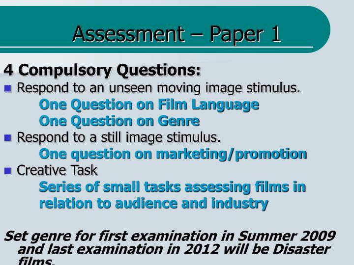 Assessment – Paper 1