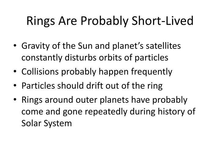 Rings Are Probably Short-Lived