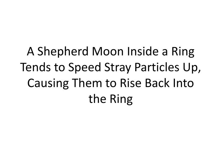 A Shepherd Moon Inside a Ring Tends to Speed Stray Particles Up, Causing Them to Rise Back Into the Ring
