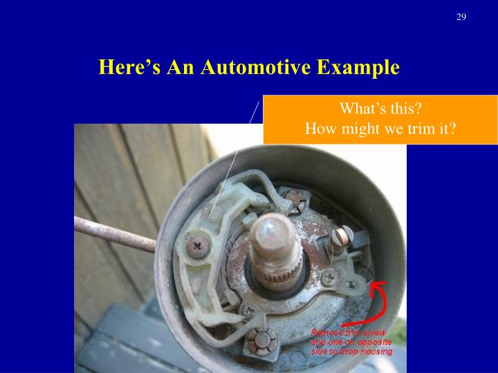 Here's An Automotive Example