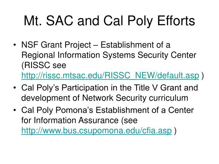 Mt. SAC and Cal Poly Efforts