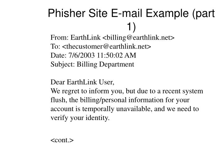Phisher Site E-mail Example (part 1)
