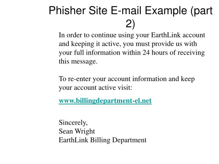 Phisher Site E-mail Example (part 2)