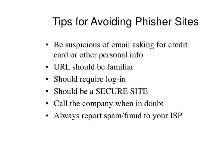 Tips for Avoiding Phisher Sites