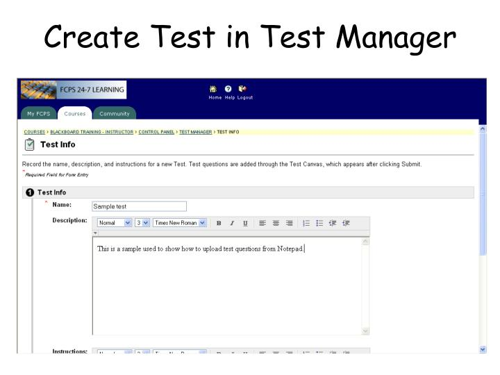 Create test in test manager